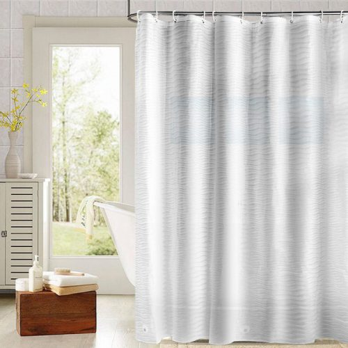 PEVA Shower Curtains Mildew Resistant Waterproof Bath Curtain Anti-Bacterial Non Toxic, Eco-Friendly, No Chemical Odor, Rustproof