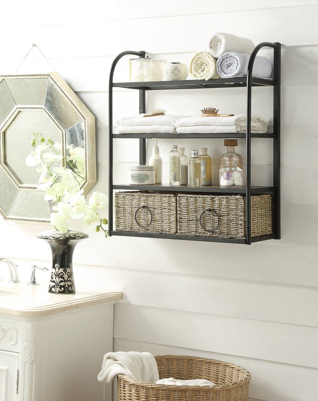 hanging towel holder organizer shelf
