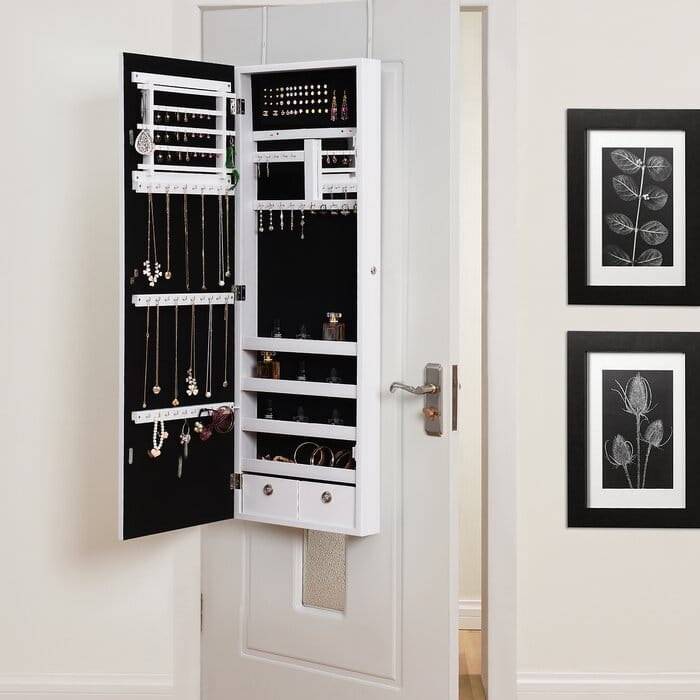 Hanging Over Door Mirrors with Storage for Jewelry