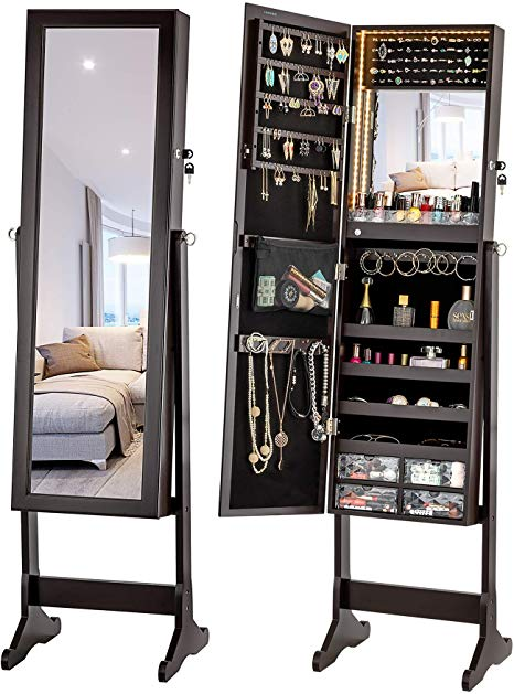 10 Best Free Standing Jewelry Armoire Cabinets with Mirror in 2020