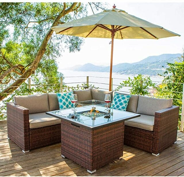 14 Best Outdoor Patio Furniture Sets with Fire Pit Table in 2021